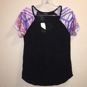 Tops - NWT Workshop Juniors Aztec Sleeve T-Shirt Sz Med